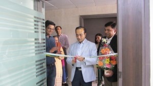 Prasenjit Datta cutting the ribbon to open the Vadodara office of Halma India